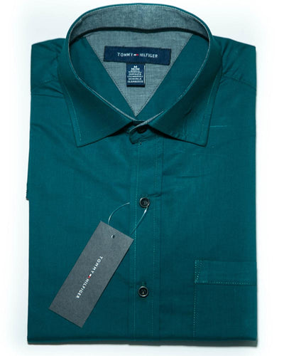 Mens Cotton Plain Green Shirt - Dress Shirts By Tommy Hilfiger