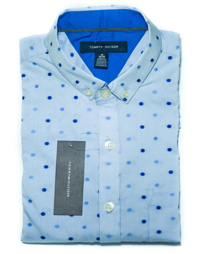 Mens Cotton Polka Dotted Shirt - Dress Shirts By Tommy Hilfiger