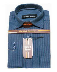 Formal Strips Cotton Shirts for Men - Mark & Spencer Men's Dress Shirts - Men Shirts - diKHAWA Online Shopping in Pakistan