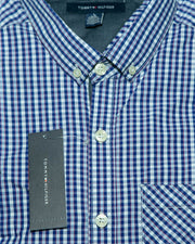 Mens Cotton Blue Check Shirt - Casual Shirts By Tommy Hilfiger