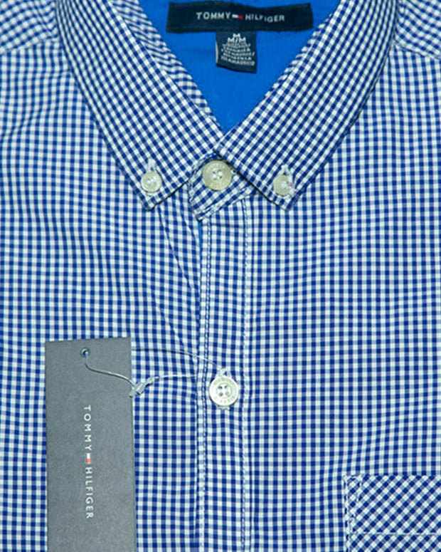 Mens Cotton Blue Checkered Shirt - Casual Shirts By Tommy Hilfiger