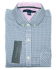 Mens Cotton Pink & Blue Check Shirt - Casual Shirts By Tommy Hilfiger