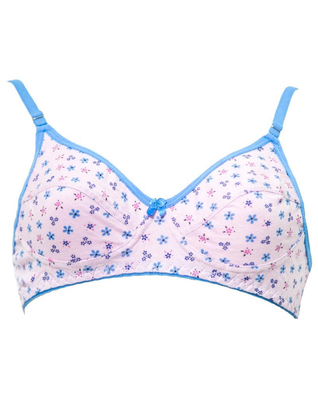 Branded Printed BBG-2005 Comfortable - Non Padded , Non Wired Bra  Pink - Blue Bell Girl