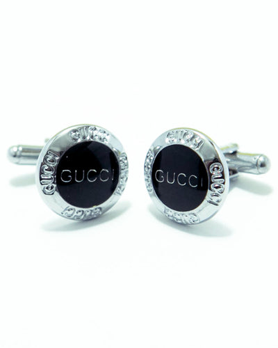 Gucci Mens Cufflinks – Branded Mens Cufflinks - Black Rounded