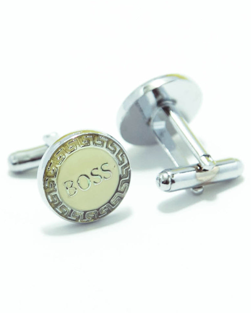Boss Mens Cufflinks – Branded Mens Cufflinks - Yellow Rounded