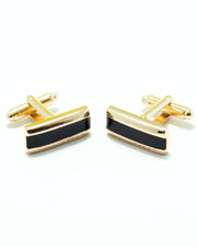 Golden With Black Boss Mens Cufflinks – Best Mens Cufflinks -  Rectangle Shaped