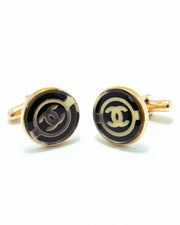 Golden With Black Gucci Mens Cufflinks – Best Mens Cufflinks -  Round Shaped