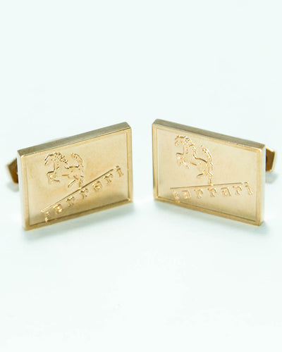 Ferrari Mens Cufflinks – Branded Mens Cufflinks – Rectangle Shaped – Golden