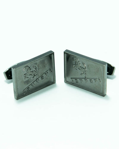 Ferrari Mens Cufflinks – Branded Mens Cufflinks – Rectangle Shaped – Black