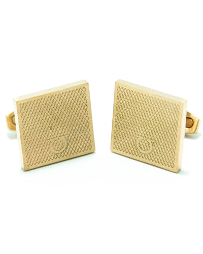 Ferragamo Mens Cufflinks – Branded Mens Cufflinks – Square Shaped – Golden