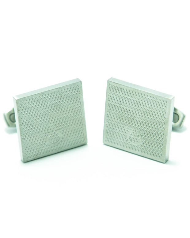Ferragamo Mens Cufflinks – Branded Mens Cufflinks – Square Shaped – Silver