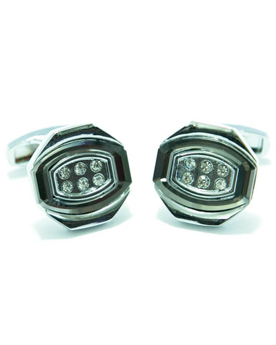 Oval Shaped Mens Cuff Links With Zircon Stainless Steel