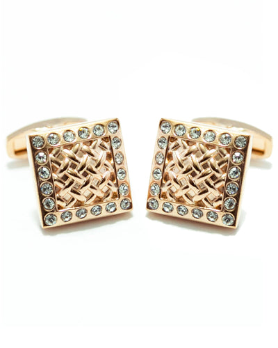 Rose Golden Cubic Zirconnia Cufflinks For Men - Square Shaped