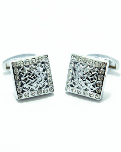 Silver Cubic Zirconnia Cufflinks For Men - Square Shaped