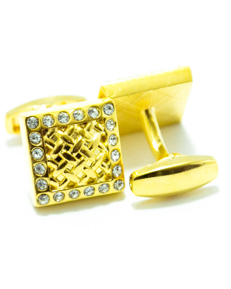 Golden Cubic Zirconnia Cufflinks For Men - Square Shaped