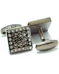Black Cubic Zirconnia Cufflinks For Men - Square Shaped
