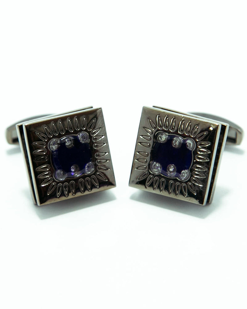 Luxury Zircon Black Metal Cufflinks For Men - Square Shaped