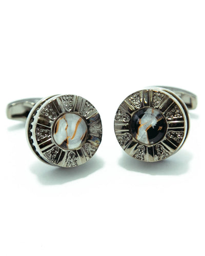 Luxury Metal Cufflinks For Men With Black & White Stone - Round Shaped