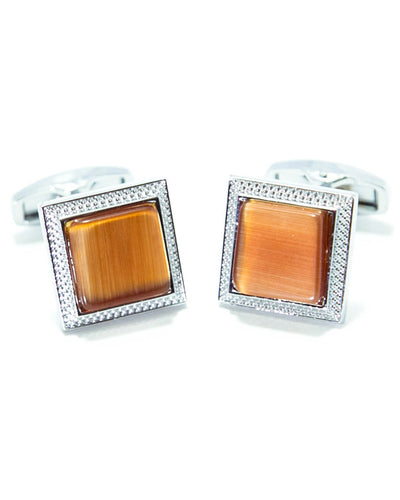 Round Edge Square Shaped Sterling Silver Cufflink With Orange Stone