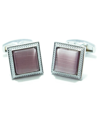 Round Edge Square Shaped Sterling Silver - MC11 - Cufflink With Purple Stone