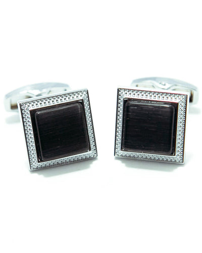 Round Edge Square Shaped Sterling Silver Cufflink With Black Stone