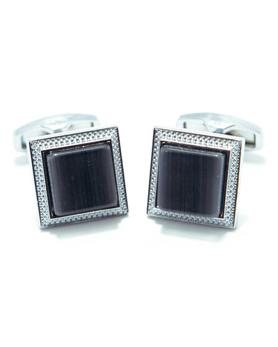 Round Edge Square Shaped Sterling Silver Cufflink With Grey Stone
