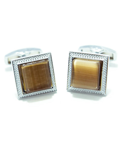 Round Edge Square Shaped Sterling Silver - MC09 - Cufflink With Brown Stone