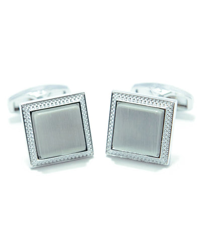 Round Edge Square Shaped Sterling Silver Cufflink With White Stone