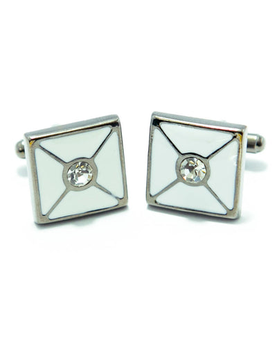White Sterling Silver Cufflinks With a Central Pearl