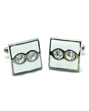 White Sterling Silver Cufflinks With a Central Two Pearl