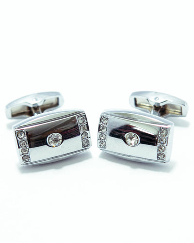 Silver With Diamonds Cufflinks For Man Stainless Steel