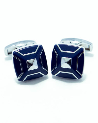 Designer Cufflinks For Mens With Blue Stone Wedding Shirt – Rectangle 3D Box