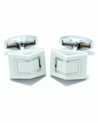 Designer Cufflinks For Mens With White Stone Wedding Shirt – Rectangle 2D Box