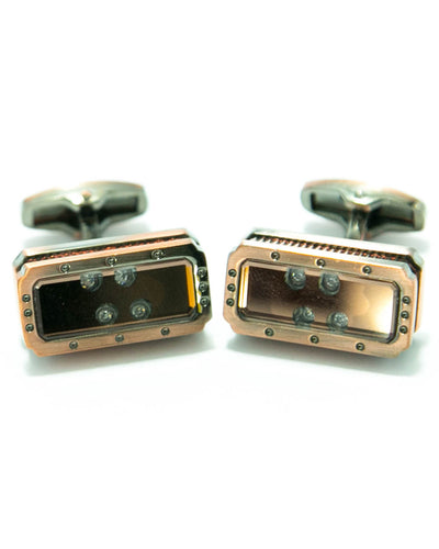 Coppered With Diamonds Metal Cufflinks For Man - Square Shaped
