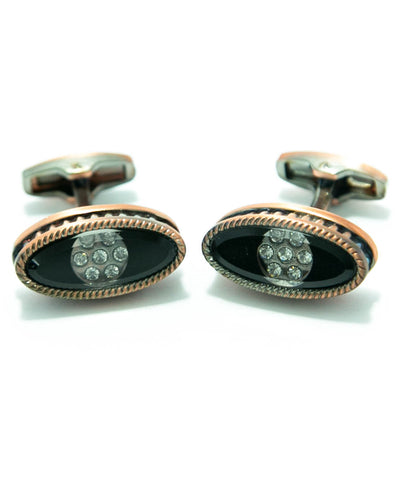 Coppered With Diamonds Metal Cufflinks For Man - Oval Shaped
