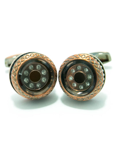 Coppered With Diamonds Metal - MC02 - Cufflinks For Man - Round Shaped