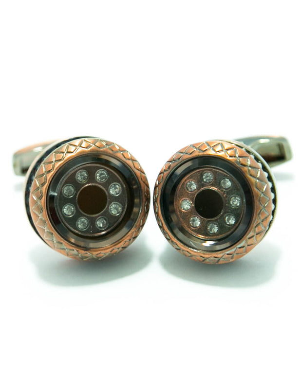 Coppered With Diamonds Metal Cufflinks For Man - Round Shaped