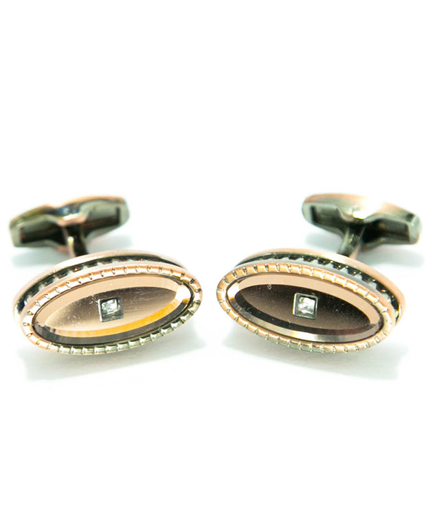 Coppered With Diamonds Metal Mens Cufflinks With a Central Pearl - Oval Shaped
