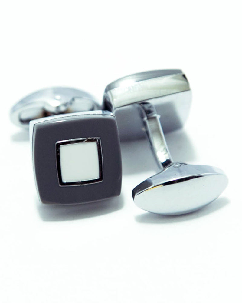 Exclusive Design Mens Cufflinks – White With Grey Stone