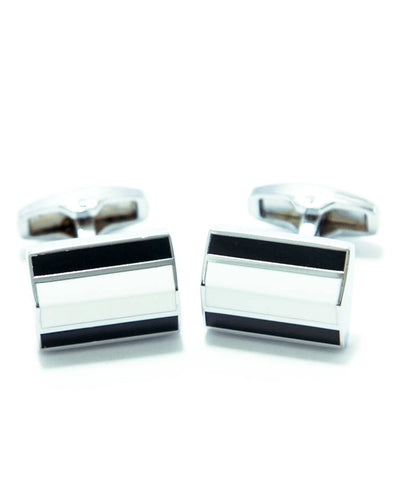 Exclusive Design Mens Cufflinks – Black With White Stone