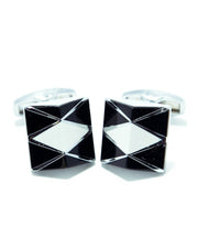 Exclusive Design Mens Cufflinks – White With Black Stone - Square Shaped