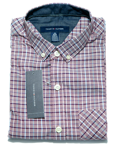 Mens Purple Checkered Shirts - Casual Shirts By Tommy Hilfiger