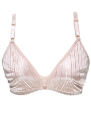Soft Cotton Silk Self Design Non Wired-Non Padded Basic Bra - Skin
