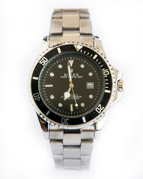 Rolex Mens Watches With Black Dial & Silver Chain With Date Mode
