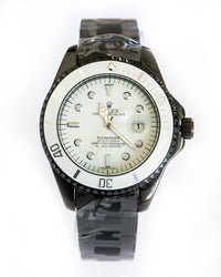 Rolex Mens Black Steel Watches With White Dial -  Date Mode