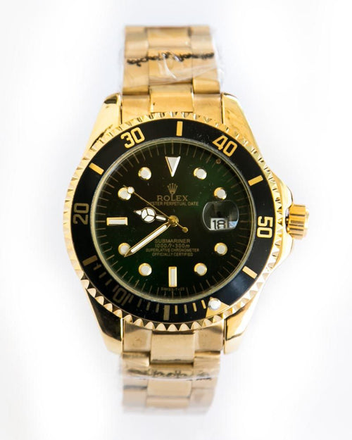 Rolex Mens Pure Golden Steel Watches With Black Dial -  Date Mode