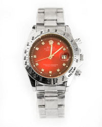 Rolex Silver Shade Mens Watches With Red Dial & Diamond Stone