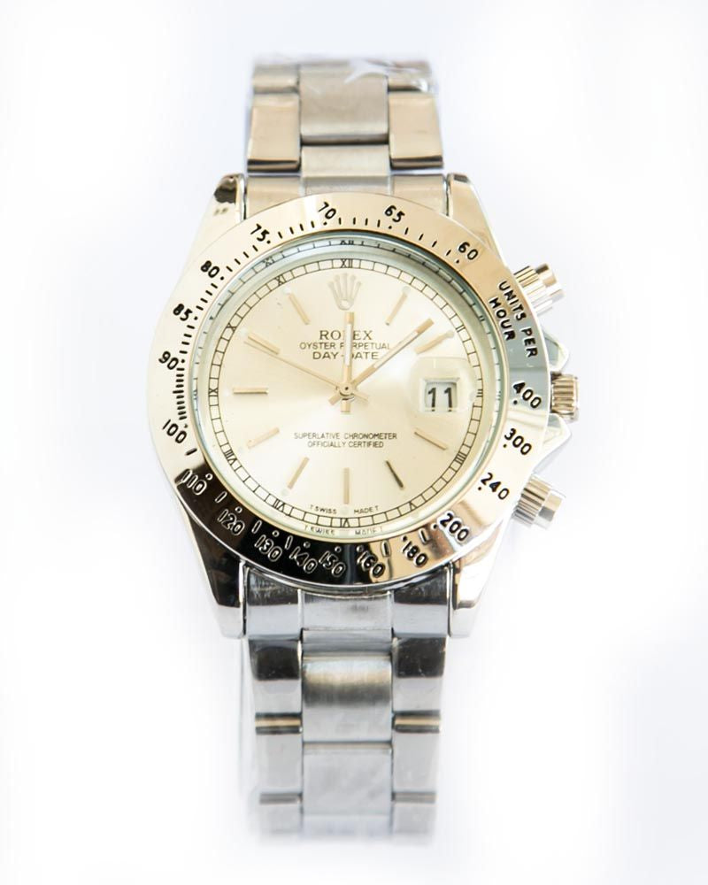 82617de4450 Rolex Silver Shade Mens Watches With White Dial   Diamond Stone ...