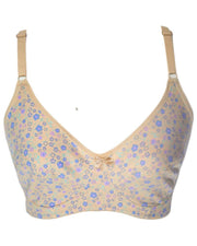 Women's Cotton Flower Print Skin Bra - Non Padded Bra - 698
