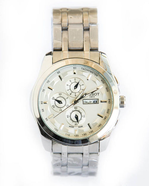 Tissot Silver Mens Watches With Date - White Dial & Silver Chain